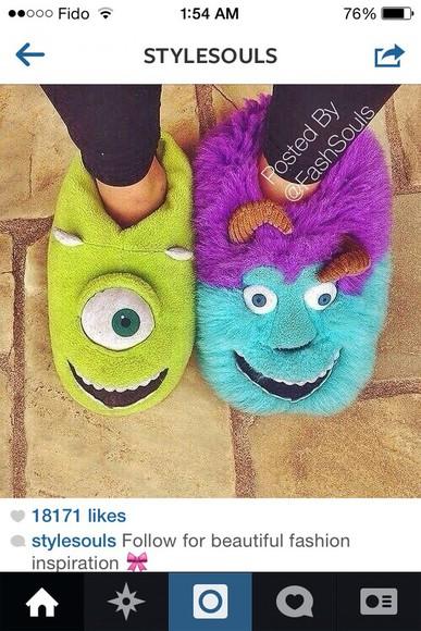 pjs pajamas slippers green socks monsters inc mike wazowski sullivan