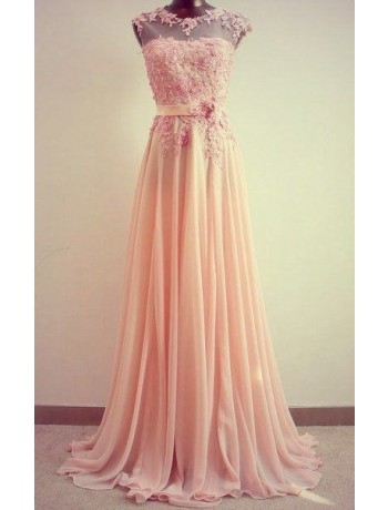 A Line Chiffon Lace Pink Cap Sleeves Evening Dress - CDdress.com