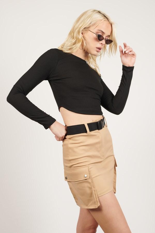 Hang Tight Khaki Belted Cargo Mini Skirt