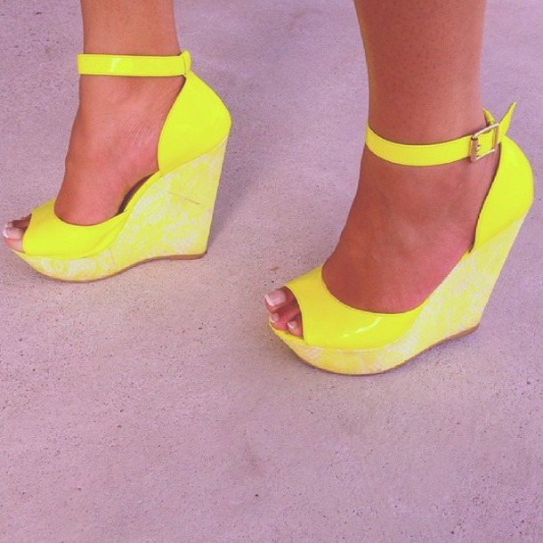 6e6be2ced9 shoes, wedges, yellow, wedge sandals, flashy, heels - Wheretoget