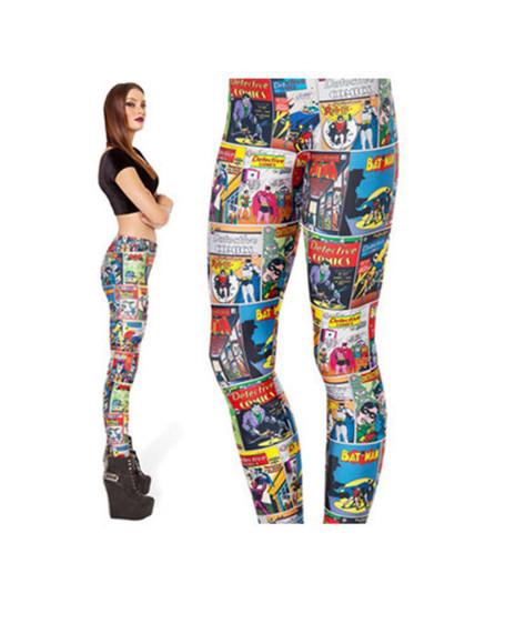 print wow cartoons cartoon comics leggings printed pants printed leggings batman superman pants sport leggings