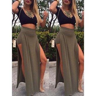 Khaki High Waisted Skirt - Shop for Khaki High Waisted Skirt on ...