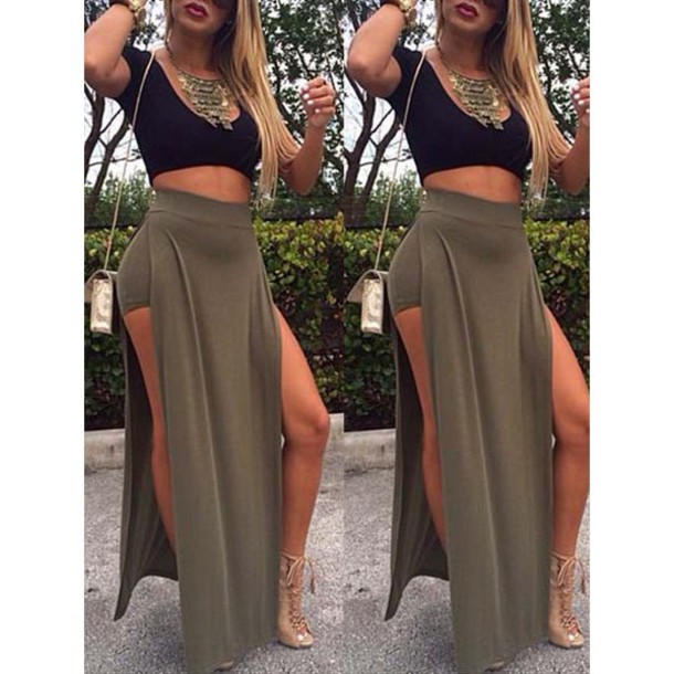 919bfbd5895 High Waisted Maxi Skirt With Slits - Dress Ala