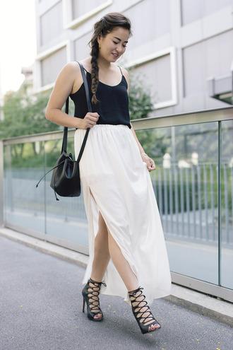 blaastyle blogger strappy sandals slit maxi skirt black tank top bucket bag