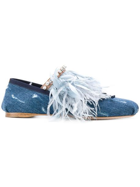 Miu Miu denim women shoes leather cotton blue