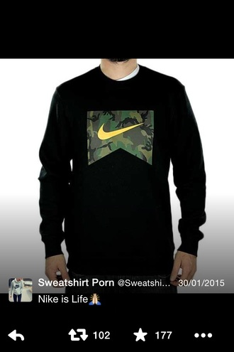 sweater menswear mens sweater style swag black t-shirt camouflage yellow nike air