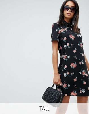 Fashion Union Tall High Neck Short Sleeve Dress In Vintage Floral at asos.com