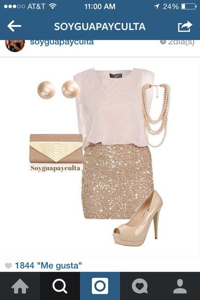 blouse beige skirt champagne dress shoes