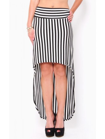 High-Low Stripe Knit Skirt
