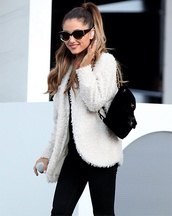 bag,inspiration,black backpack,ariana grande,white fur,soft,classy,going out,warm,winter jacket