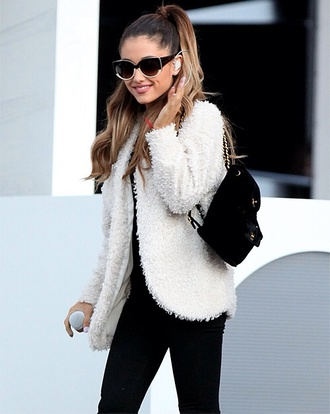 bag inspiration black backpack ariana grande white fur soft classy going out warm winter jacket