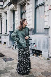 jacket,hun,tumblr,army green jacket,dress,floral maxi dress,maxi dress,floral,floral dress,long dress