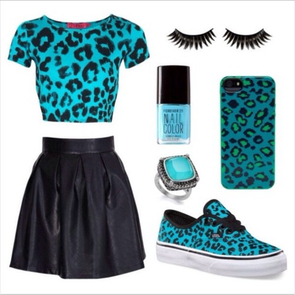 t-shirt animal print blue shirt leopard print shoes jewels skirt