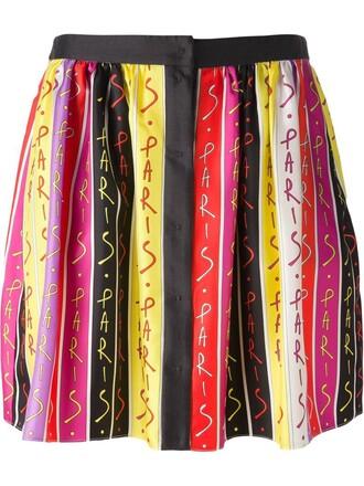 skirt pleated skirt pleated paris print black