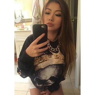 sweater skull phone crown black sweatshirt black sweater streetwear fusion girl make-up fall sweater