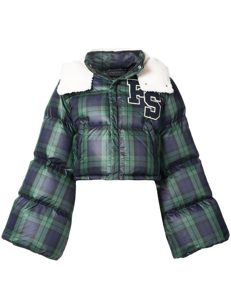 jacket puffer jacket cropped women blue tartan