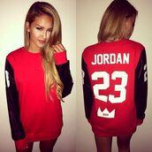 sweater,shirt,jumper,red,jordan,23 Jordan,jordan sweatshirt