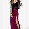 Sexy burgundy skirt - maxi skirt - slit skirt - $33.00