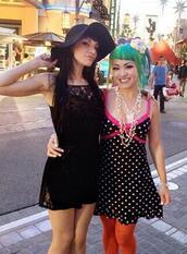 dress,lace,black,mini dress,strappy,hat,floppy hat,instagram