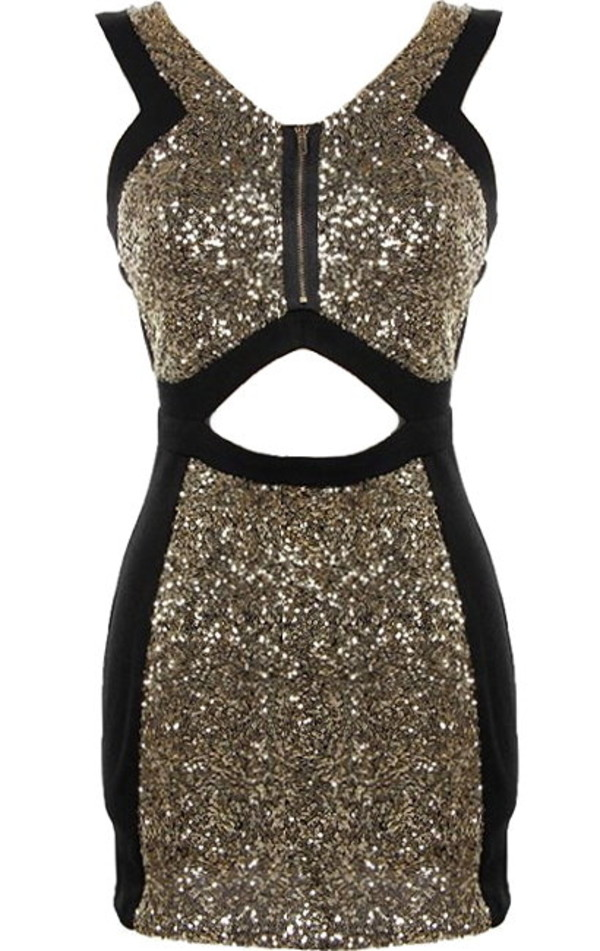 Peekaboo Dazzler Dress | Black Gold Sequin Party Dresses | Rickety ...
