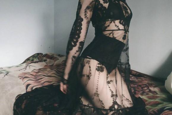 maxi dress black dress lace dress see through mesh floor length dress long sleeves