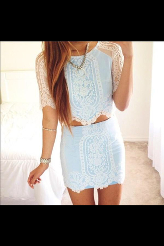top haute rogue blue tops blue tank top blue t-shirt crop cropped crop tops lace top lace tank top lace skirt