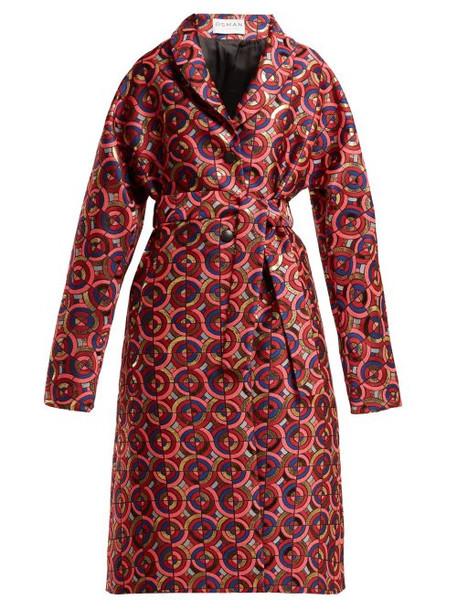 coat jacquard geometric pink