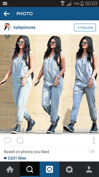 jumpsuit overalls knit grey sweatpants