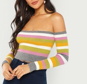 blouse,girly,girl,girly wishlist,off the shoulder,off the shoulder top,long sleeves,crop tops,cropped,crop,stripes