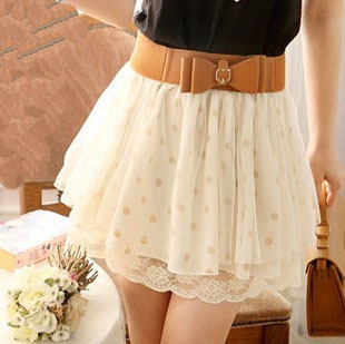 shego shopping mall — [GRLHX160047]NICE LACE WAVE POINT SKIRT WITH THE BELT