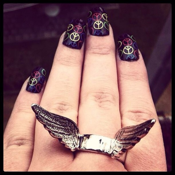 jewels rings silver angel wings nail polish peace sign statement ring