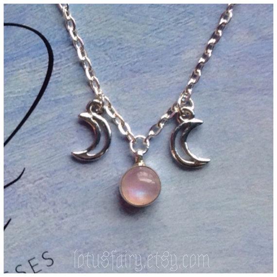 Pink rainbow moonstone triple goddess moon necklace