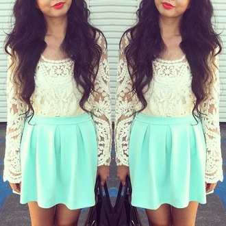 skirt neon blue lace long sleeves crop tops