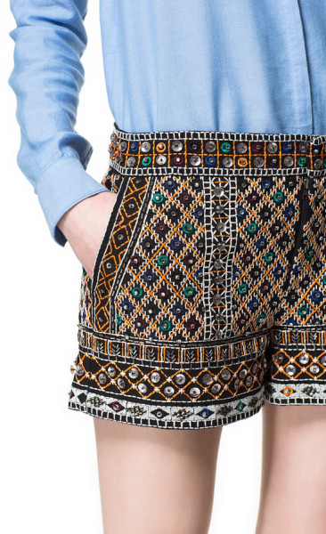 Zara Multicolor Embroidered Shorts with Stones