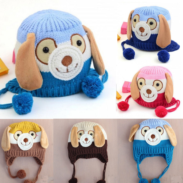 Cute baby children dog cartoon knitted cap / ear flap beanie hat   free shipment