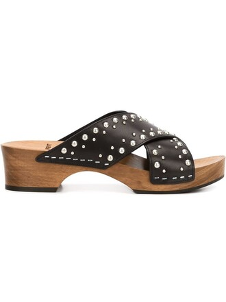 wood studded women sandals flat sandals leather black shoes