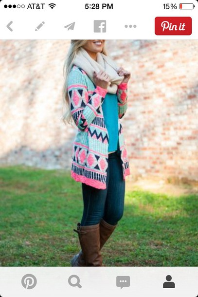 jacket pink turquoise black cardigan reallywant really cute victoria's secret help mee blouse multicolored cardigan please please pink and blue aztec