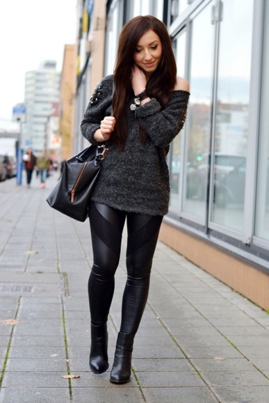 black one shoulder sweater grey grey sweater Choies leather outfit oversized dark off the shoulder sweater
