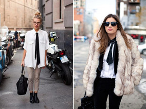 shirt clothes fashion white white shirt black black bow black scarf bag handbag black bag