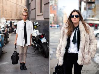 shirt clothes fashion white white shirt black black bow black scarf bag handbag black bag minimalist