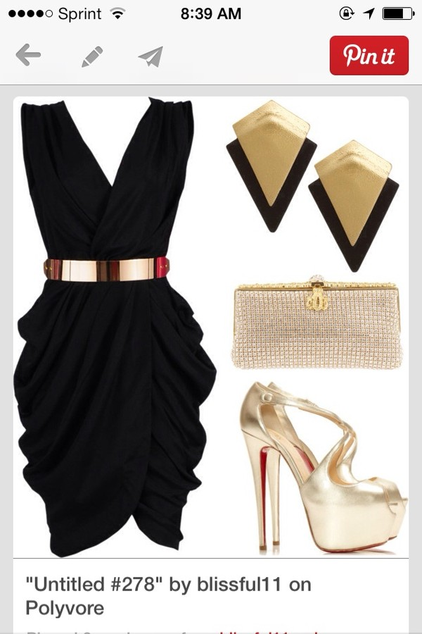 dress little black dress gold belt shoes