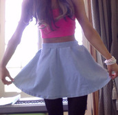 tank top,ariana grande,blue skirt,skirt,pink,pink tank top,jewels,blue,grande,pretty,top,crop tops,denim,bracelets,white,black tights,instgram,ootd,outfit,jai brooks,janoskians,crop,crop tank,cropped,blouse,ariana grande light blue skater skirt,dress,ariana grande dress