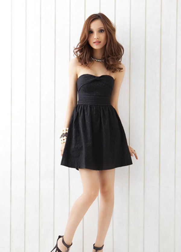 dress fashion black dress women style strapless