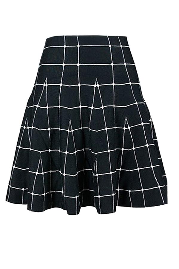 Black Plaid Classic Ladies Cute Pleated Skirt