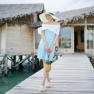 olivia lazuardy blogger hat sunglasses dress bag shoes blue dress floppy hat summer outfits sandals pineapple