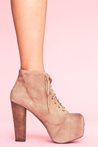 Taupe suede in  shoes heels at nasty gal