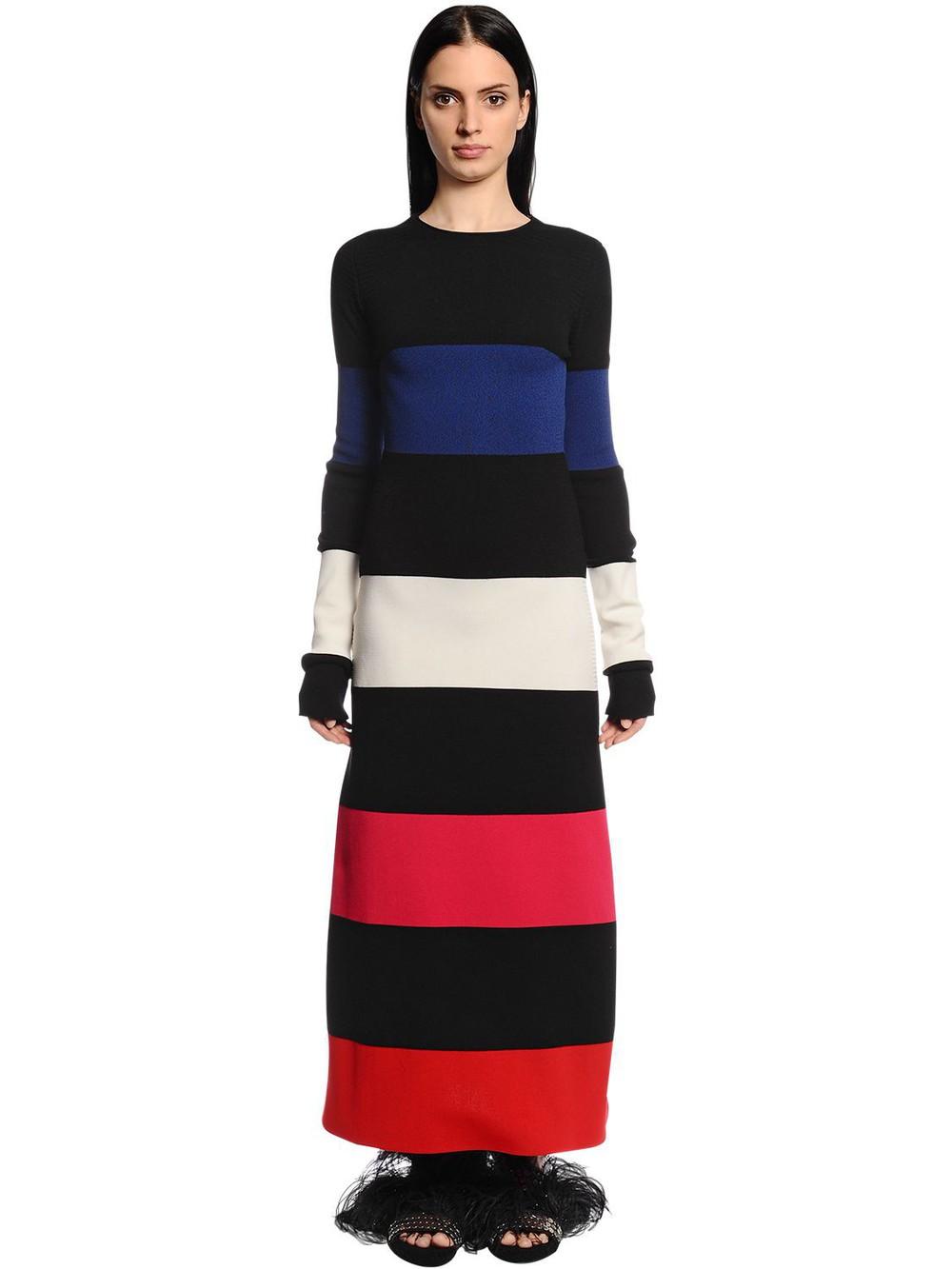 SONIA RYKIEL Striped Stretch Wool Blend Knit Dress