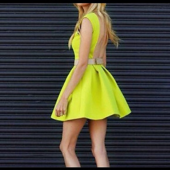 dress low back yellow neon skater skirt sumer dress cocktail dress neon yellow fashion