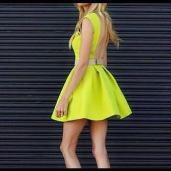 neon dress yellow skater skirt neon yellow fashion sumer #0: 4fkas5 l c335x335 neon dress yellow skater skirt neon yellow fashion sumer dress cocktail dress low back