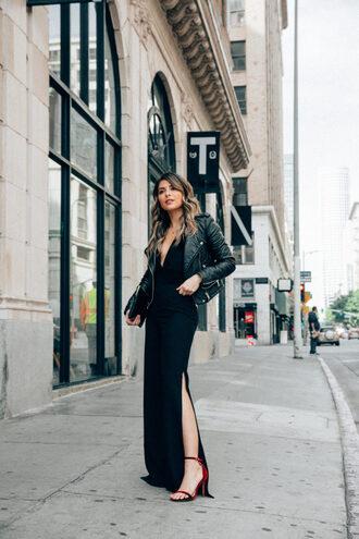 pam hetlinger the girl from panama blogger jacket pants sandals black dress black leather jacket winter outfits